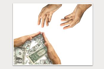 ידיים מושטות לכסף