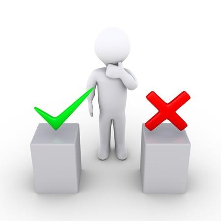 איש עומד מול 2 אפשרויות וי או איקס