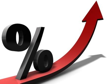 סמל אחוז הנוסע על חץ העולה כלפי מעלה