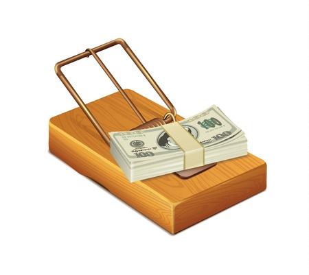 חבילת דולרים המונחת על מלכודת