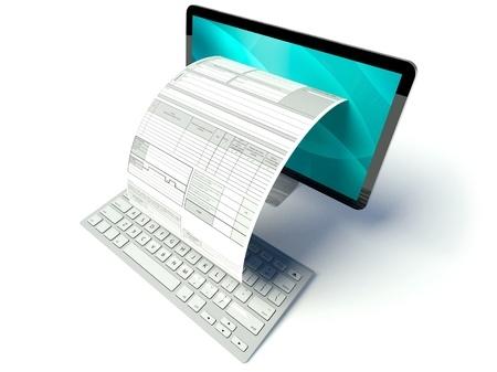 מסמך היוצא מודפס מהמסך של המחשב על המקלדת