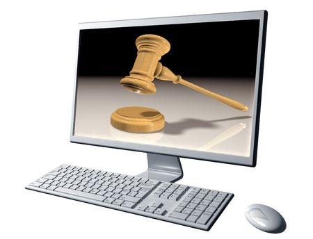 פטיש של שופט על צג של מסך מחשב
