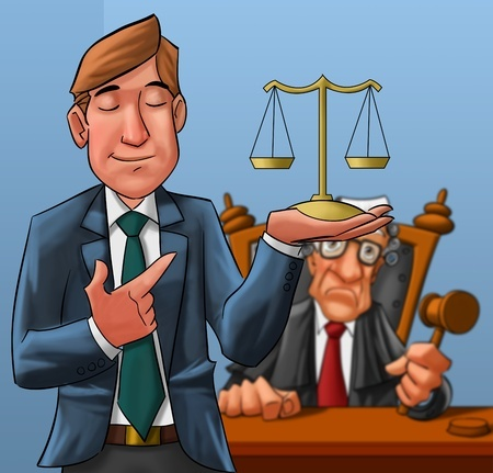 """עו""""ד מצביע שופט עם מוזנים על היד"""
