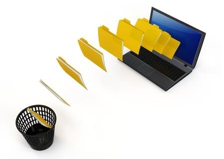 תקיות עוברות מהמחשב לסל