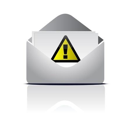 מעטפה פתוחה ובתוכה מכתב עם סימן קריאה