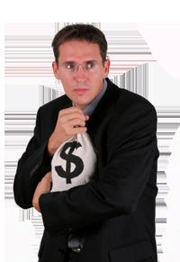 גבר מחזיק שק עם דולרים