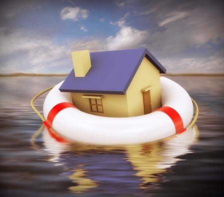 בית שמסביבו גלגל הצלה על ים
