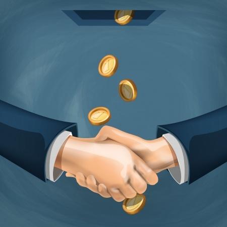 לחיצת ידיים בגשם של כסף